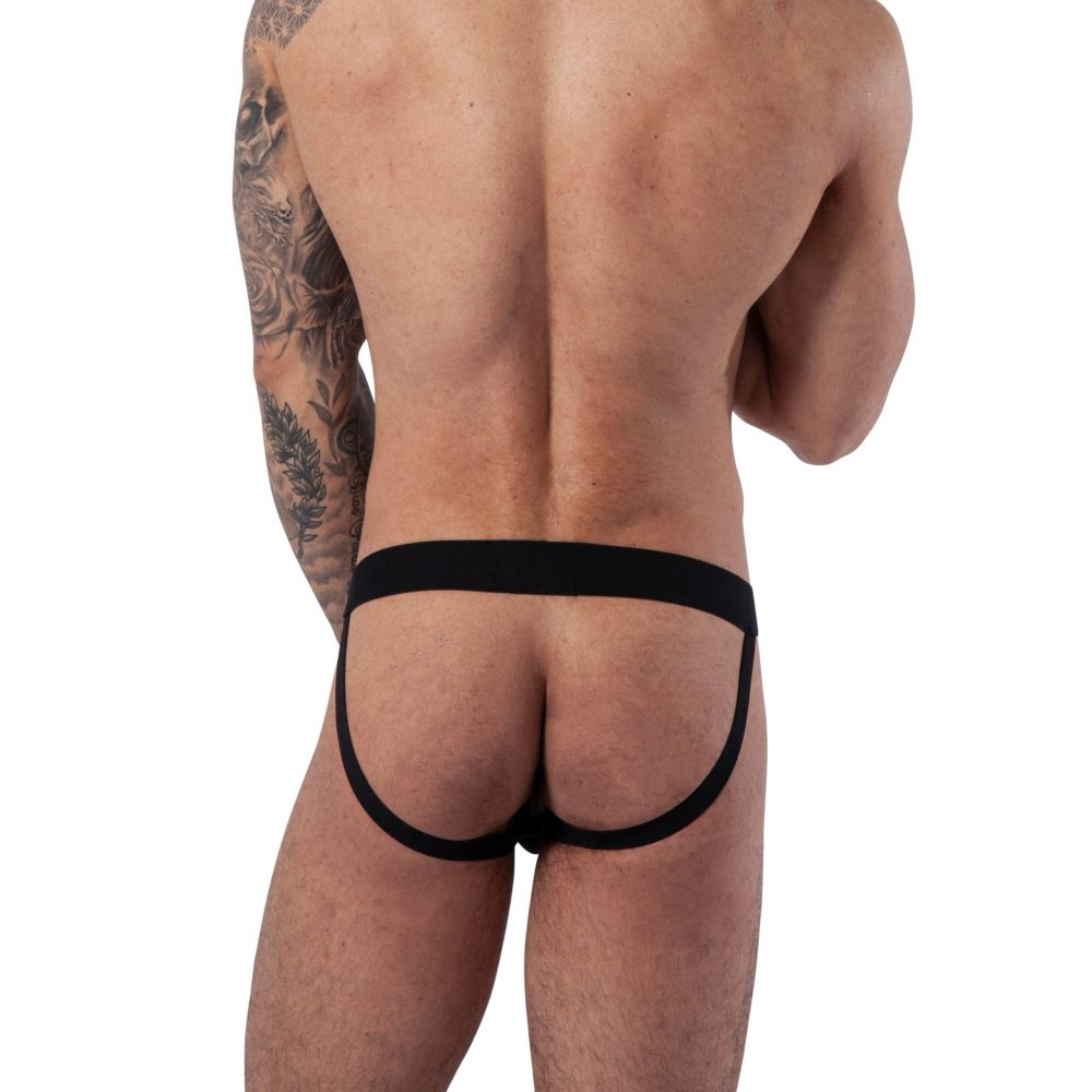 Man wearing Mens Gold Web Jockstrap by Bare&Bone view from the back